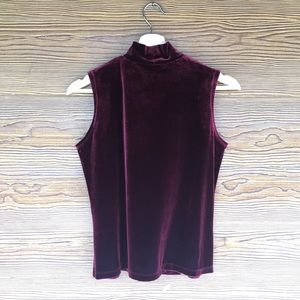 Vintage Tops - Vintage Sleeveless Velvet Turtleneck Sleeveless S